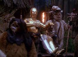 C3PO being carried around by Ewoks.