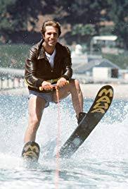 "Henry Winkler, as ""The Fonz"", on waterskis about to jump the famous shark."