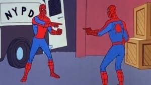 Spider-Man pointing at Spider-Man