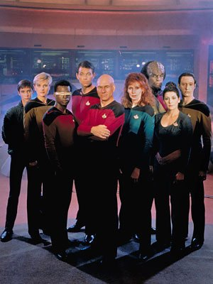 Wesley, Yar, La Forge, Riker, Picard, Dr. Crusher, Worf, Troi, and Data