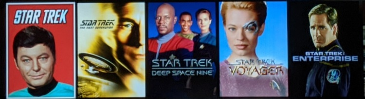 from left to right, Star Trek, TNG, DS9, Voyager, and Enterprise