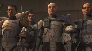 four clone troopers from star wars attack of the clones animated series
