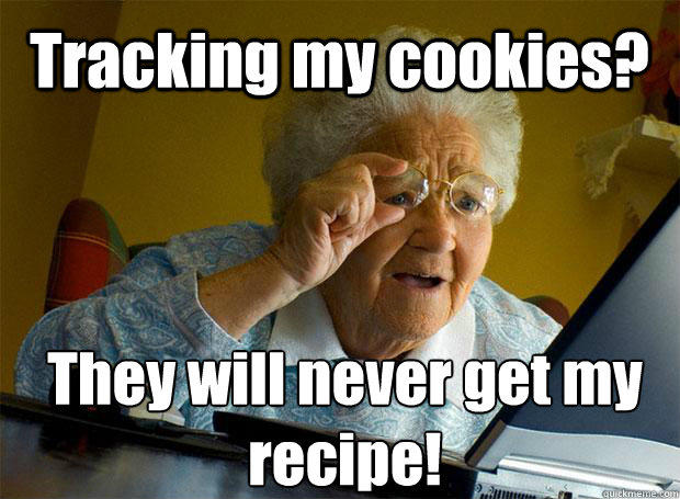 "An old woman looks at the computer and goes ""tracking my cookies? They will never get my recipe!"""