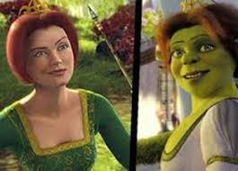 Princess Fiona in her human and ogre forms