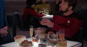 Riker with an assortment of klingon food.