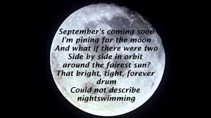 september's coming soon. I'm pining for the moon. and what if there were two side by side in orbit, around the fairest sun? that bright, light, forever drum. could not describe night swimming.