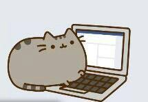 Pusheen the cat at their laptop