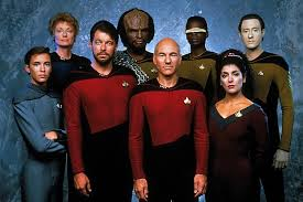 Wesley, Polaski, Riker, Worf, Picard, La Forge, Troi, and Data