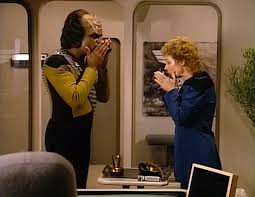 Worf and Pulaski share Klingon tea
