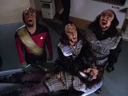 The Klingon death ritual as performed by Worf and the two Klingon renegades