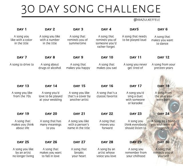 30 day song challenge, the rest of the article will go through all of the words on this image ... it's WAAAY to much to type for alt text, but there is a picture of a cat in the bottom right hand corner.