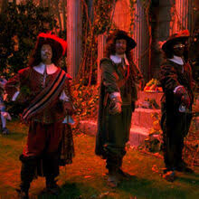 Data, Picard, and La Forge in the holodeck as a three musketeers