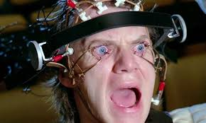 the scene in a clockwork orange where his eyes are forcibly held open while he watches images on the screen