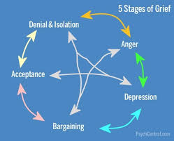 the cycle of the 5 stages of grief, outlined with arrows showing you can bounce around all of the stages