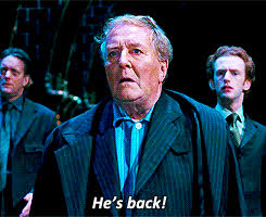 "the PM going ""he's back"" in harry potter when he sees Voldy's really returned"