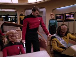 Captain Riker on his new bridge with Worf, Crusher, La Forge, and an unnamed Ferengi