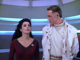 Jev and Troi in the turbolift