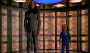 K'Ehleyr and Alexander on the transporter
