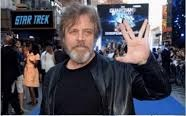 "Mark Hamill making the ""live long and prosper"" Vulcan gesture at a Star Trek premire"