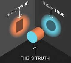 "a cylinder with one side showing a square shadow saying ""this is true"" and the other side saying ""this is true"" but showing a circle, and looking at it 3d saying ""this is the truth"""