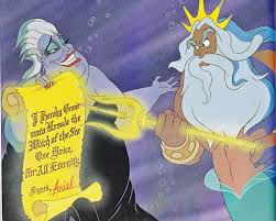 Ursula and King Triton argue over a contract.