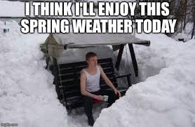 "A man in a tank top sits on a swing that is surrounded by snow and says ""I think I'll enjoy this Spring weather today"""