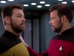 Yellow Riker on the left and Red Riker on the right.
