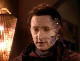 Data with the left side of his face exposed.