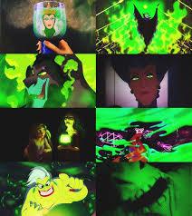 Disney villains in green (evil queen, Maleficent, Scar, evil stepmother, Rapunzel's caretaker, and more)
