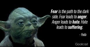 "Yoda ""fear is the path to the dark side. Fear leads to anger, anger leads to hate, hate leads to suffering."""