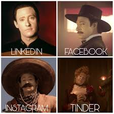 four pictures of data: LinkedIn (his usual picture), Facebook (him as the father), Instagram (him as the shooter in the sombrero), and Tinder (him in drag)