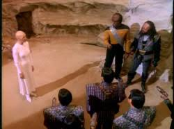 The Klingons and Romulans listening to the message of hope.