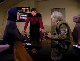 The Prytt and Kes arguing while Riker tries to moderate