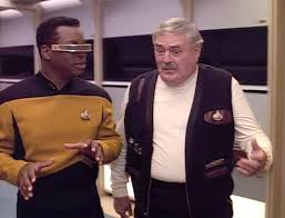La Forge and Scotty swapping war stories.
