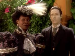 past Guinan and future Data in period dress