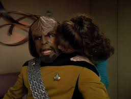 Troi trying to kiss Worf and Worf's face is classic