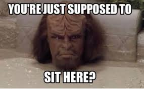 "Worf's head sticking out of the mudbath saying ""you're  just supposed to sit here?"""
