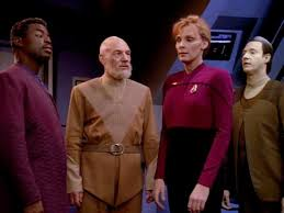 Future La Forge, Picard, Crusher-Picard, and Data