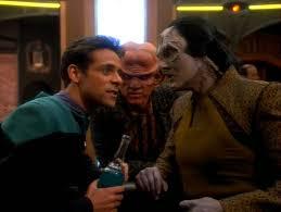 Bashir, Garak, and Quark at the bar