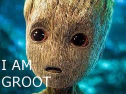 """baby Groot says """"I am Groot"""""""