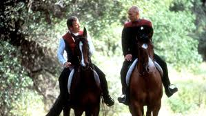 Kirk and Picard riding their horses