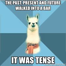 """The past, present, and future walked into a bar. It was tense."" There is a llama in the background, no idea why."