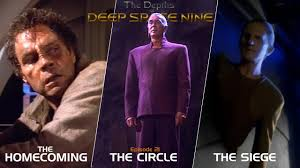 Li, Jaro, and Odo n front of a sign for each episode, in order