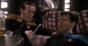 Bashir and O'Brien drunk as skunks and singing drinking songs