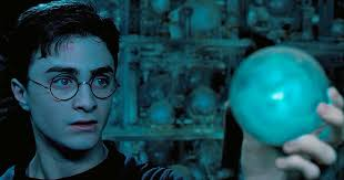 Harry Potter staring at a prophecy orb