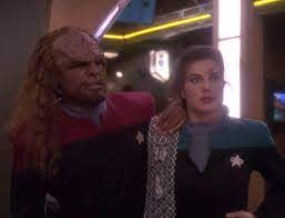 Worf and Dax disheveled after their, um, time in the holosuite