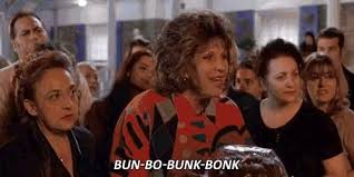 "from MY BIG FAT GREEK WEDDING, the mother trying to pronounce ""bundt"" cake"