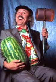 """Gallagher with a watermelon and his """"sledge-o-matic"""""""
