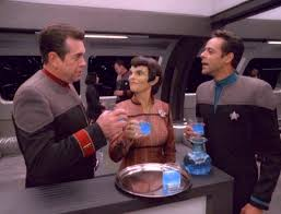 Ross, Bashir, and Cretake drink Romulan Ale