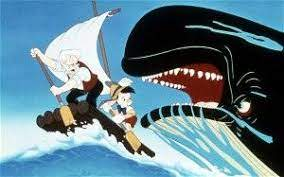 Monstro the whale trying to eat Geppetto and Pinocchio.
